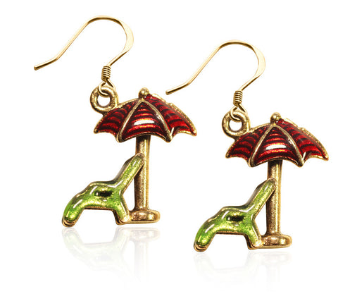 Beach Chair w/Umbrella Charm Earrings in Gold - Whimsical Gifts - Dropship Direct Wholesale