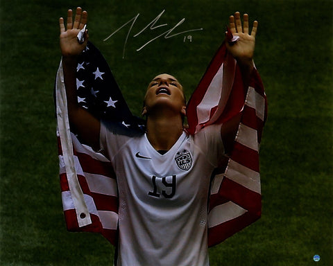 Julie Johnston Signed 2015 Womens World Cup w/ Flag Over Shoulders 16x20 Photo