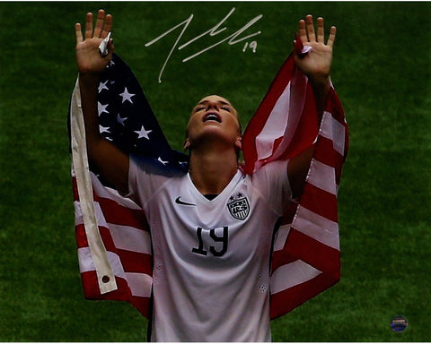 Julie Johnston Signed 2015 Womens World Cup w/ Flag Over Shoulders 8x10 Photo