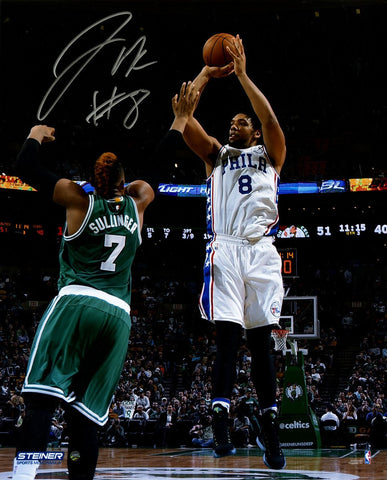 Jahlil Okafor Signed 76ers First NBA Game Action 16x20 Photo
