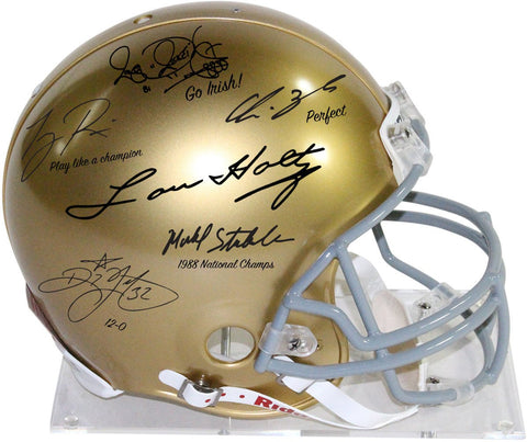 1988 Notre Dame 6 Signature Authentic Helmet Signed by Lou Holtz/Rickey Watters/Rocket Ismael/Tony Rice/Chris Zorich/Michael StonebreakerLE 1/88