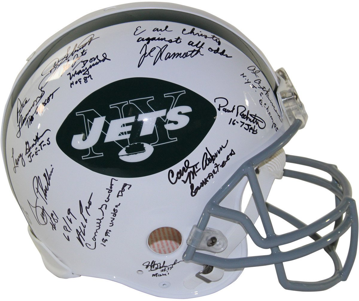 1969 New York Jets Team Signed Authentic 65-77 Throwback Helmet W/ Inscriptions LE/69 24 Signatures