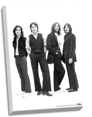 The Beatles 1969 Group Pose White Background Stretched 24x36 Canvas