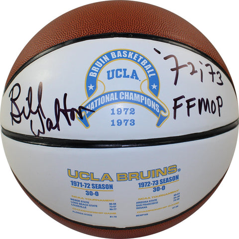 Bill Walton Signed UCLA 1972 and 1973 National Champions Full Size White Panel Basketball w/ 72/73 Final Four MOP Insc