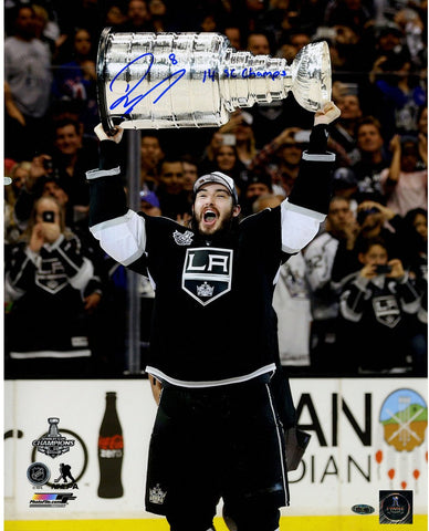 Drew Doughty Signed Los Angeles Kings 2014 Stanley Cup Overhead 16x20 Photo w/ 14 SC ChampInsc