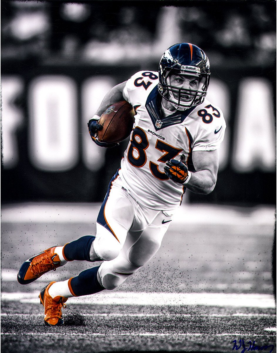 Wes Welker Running Black And White With Color Accents 11x14 Photo Uns Signed By William Hauser