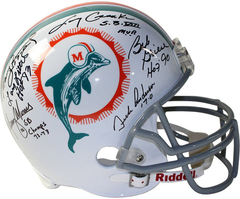 1972 Dolphins 6 Signature Replica Helmet Signed and inscribed by Csonka /Griese /Fernandez /Morris /Little /Anderson