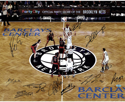 Brooklyn Nets Multi Signed 2012 Home Opener Tip Off vs Toronto 16x20 Photo 12 Signatures Imperfect