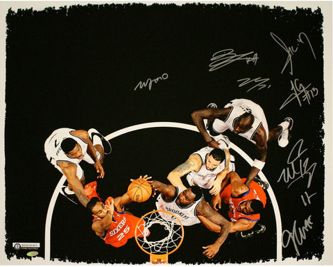 Brooklyn Nets Multi Signed Blocked Shot 20x24 Canvas 8 Sigs