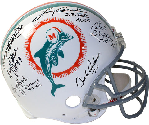 1972 Dolphins 6 Signature Authentic Helmet Signed and Inscribed by Csonka/Griese /Fernandez/Morris /Little /Anderson