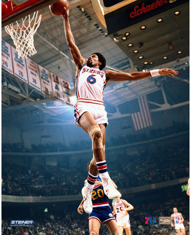 Julius Erving Philadelphia 76ers Dunk Against Denver Nuggets 16x20 Photo Uns Getty nbr1471459