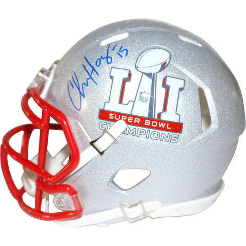 Chris Hogan Signed New England Patriots Super Bowl 51 Champions Riddell Speed Mini Helmet