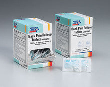 Back pain reliever tablets- 125 2-packs- 250 tablets per dispenser box - First Aid Only - Dropship Direct Wholesale