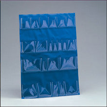 Inside door pocket liner- vinyl- blue- for 5 shelf cabinet- 22 clear pockets- 1 ea. - First Aid Only - Dropship Direct Wholesale