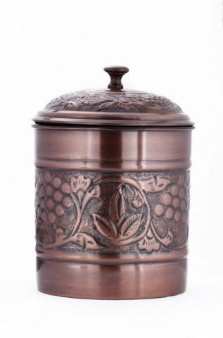 7 x 9.5 Antique Copper Embossed Heritage Cookie Jar 4 Qt - Old Dutch - Dropship Direct Wholesale