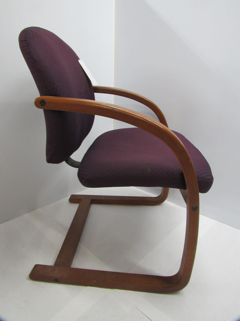 Plum Fabric/Wood Guest Chair