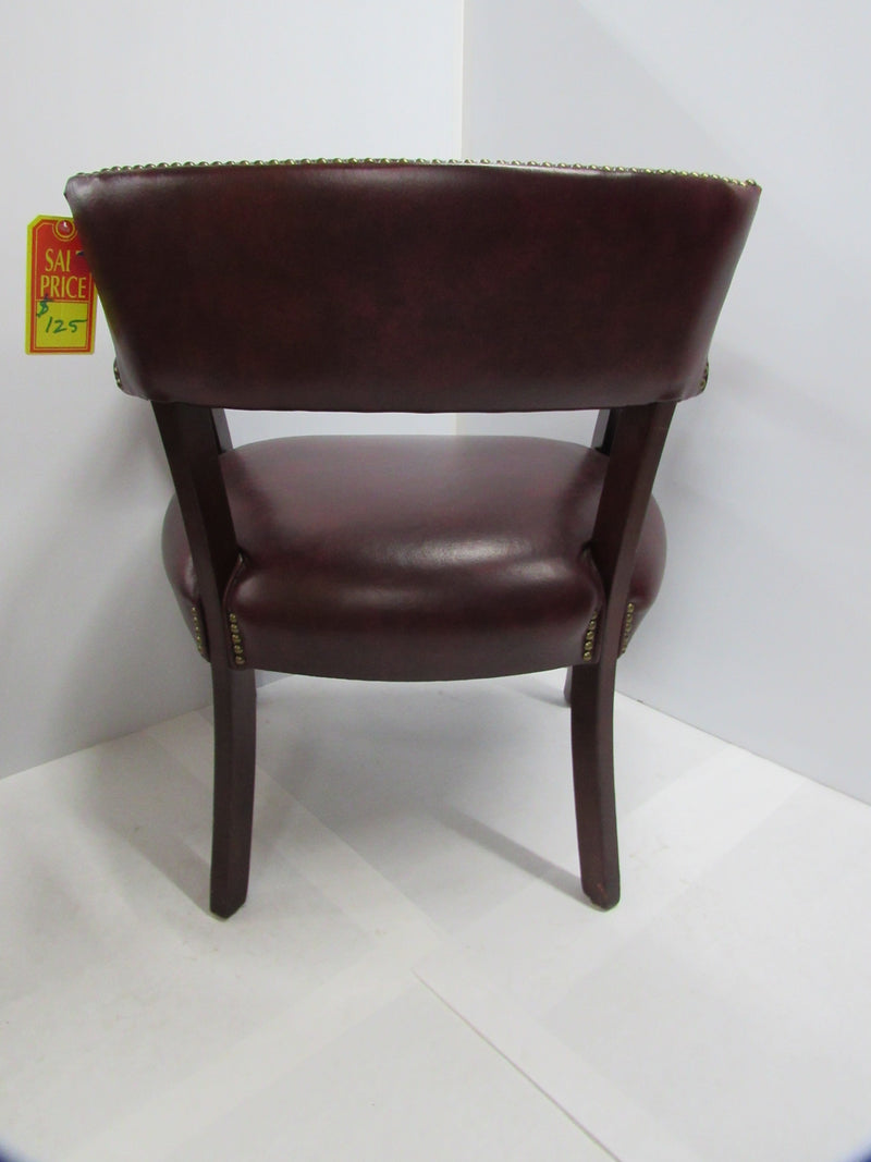 Burgundy Leather/Mahogany Wood Guest Chair