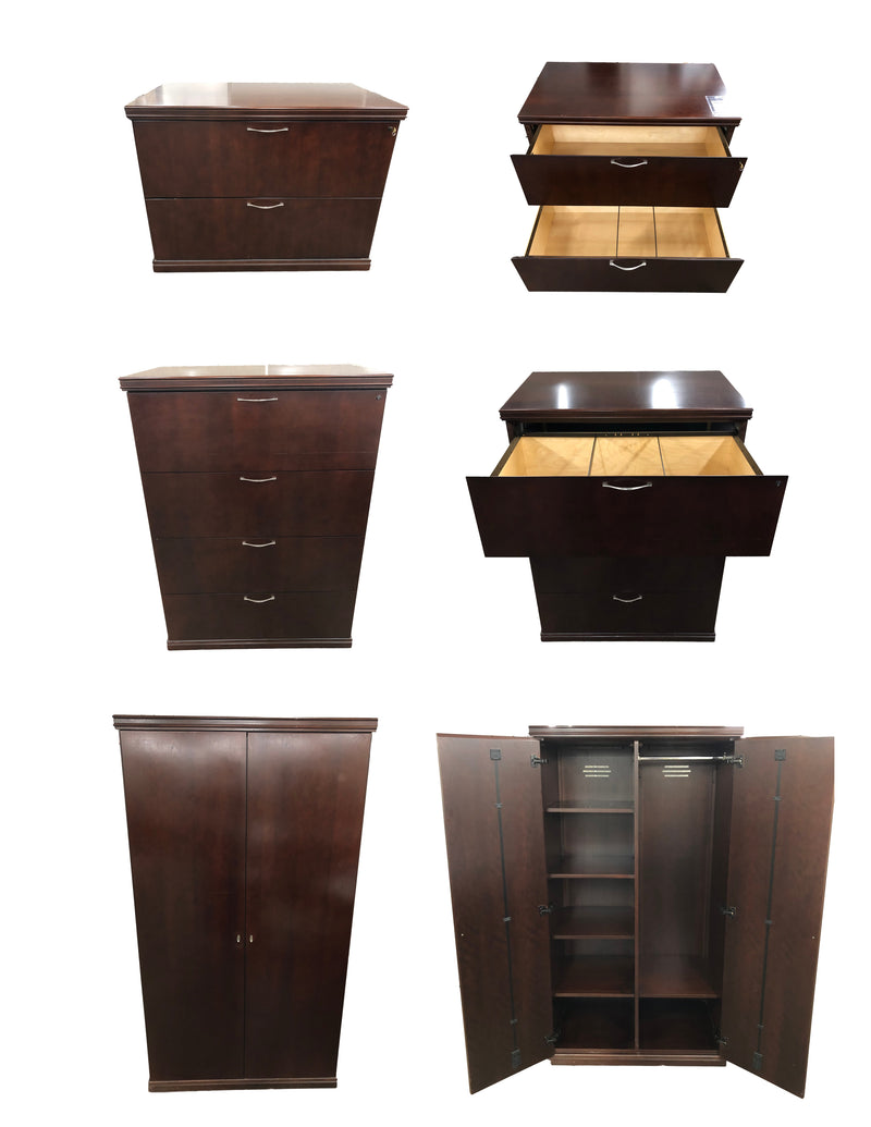 Mahogany Veneer Combination Set - 2 Drawer Lateral , 4 Drawer Lateral and Wardrobe