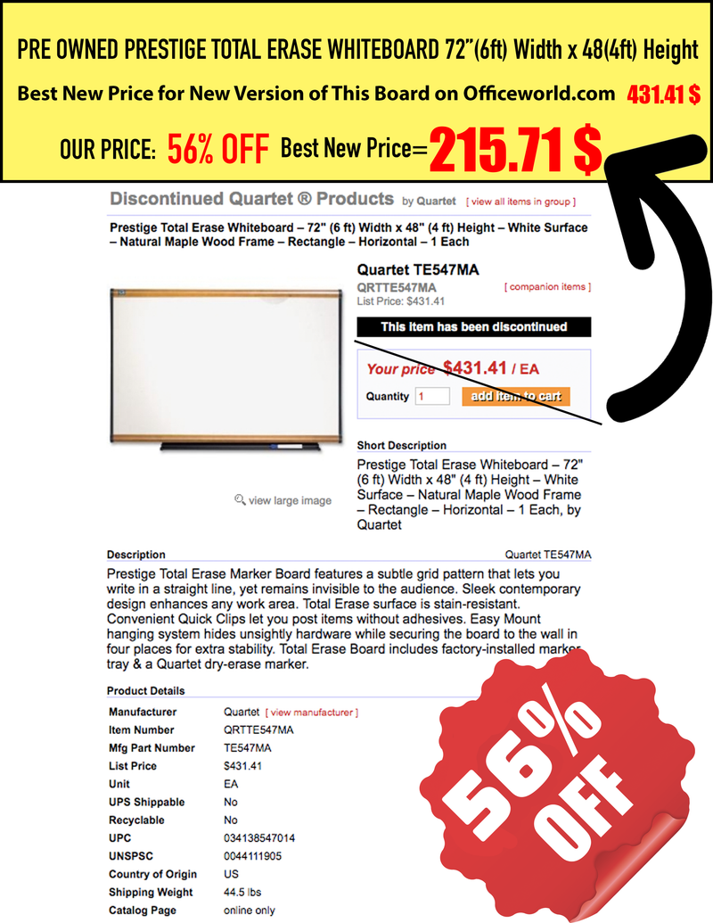 Pre Owned Prestige Total Erase Whiteboard with Grid