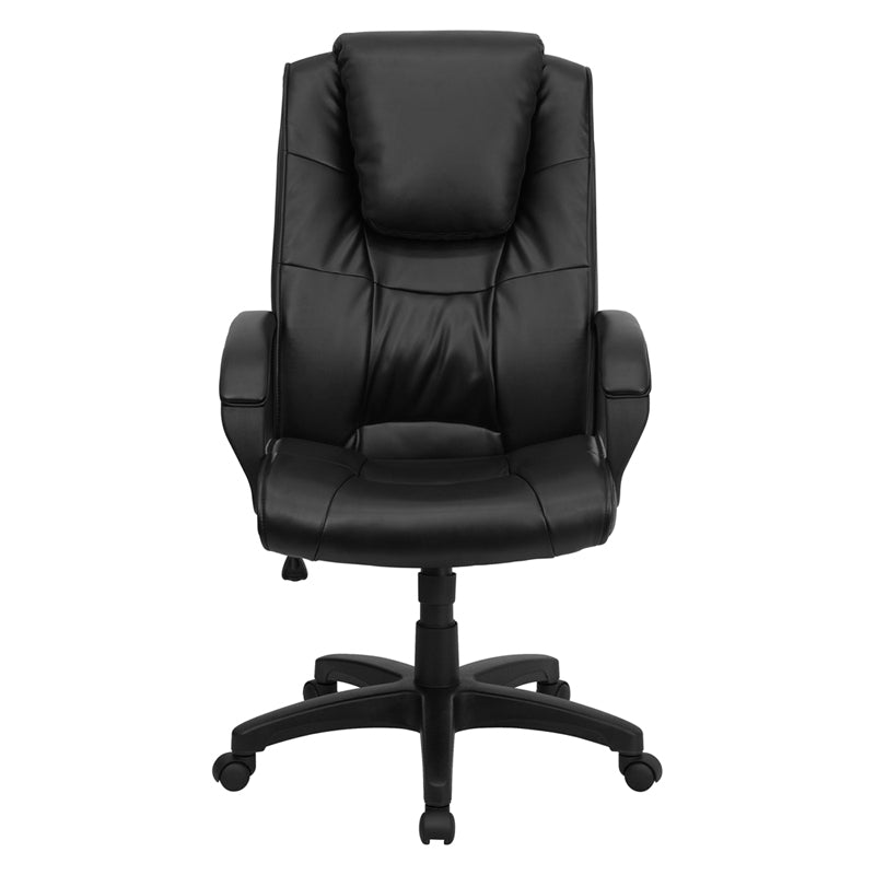 High Back Black LeatherSoft Executive Chair with Oversized Headrest and Arms
