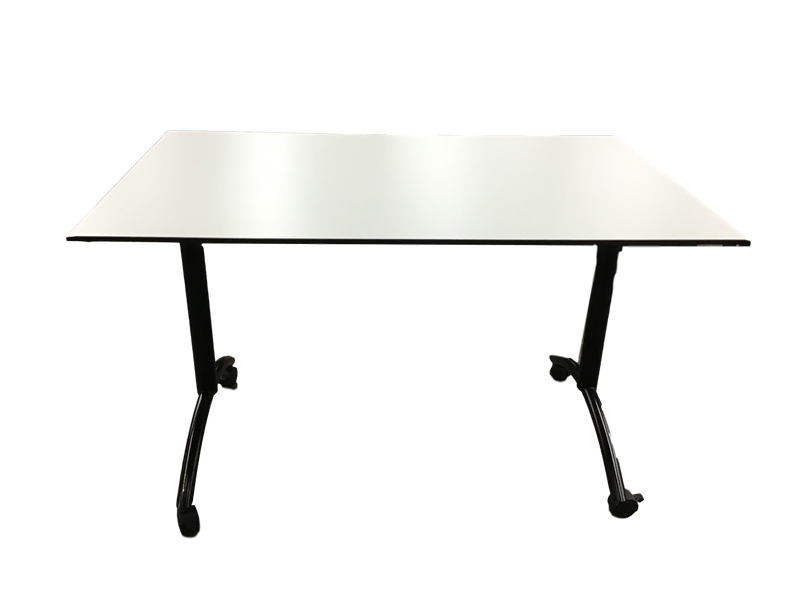 White Laminate Beveled Edge Table on Wheels