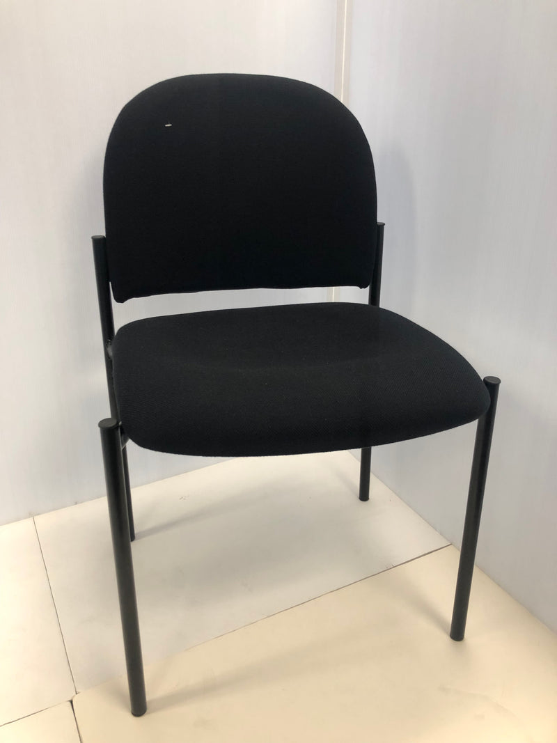Flash Black Fabric Stackable Steel Side Reception Chair
