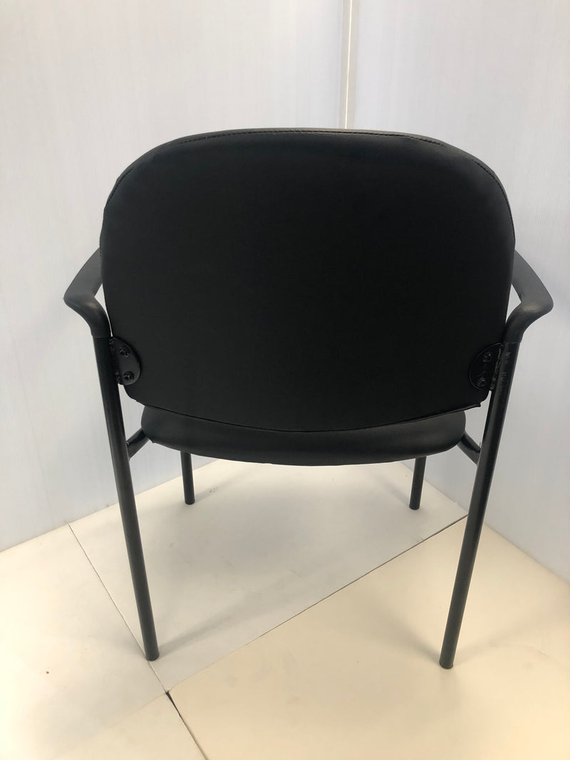 Stackable Steel Side Reception Chair with Arms in Black Vinyl