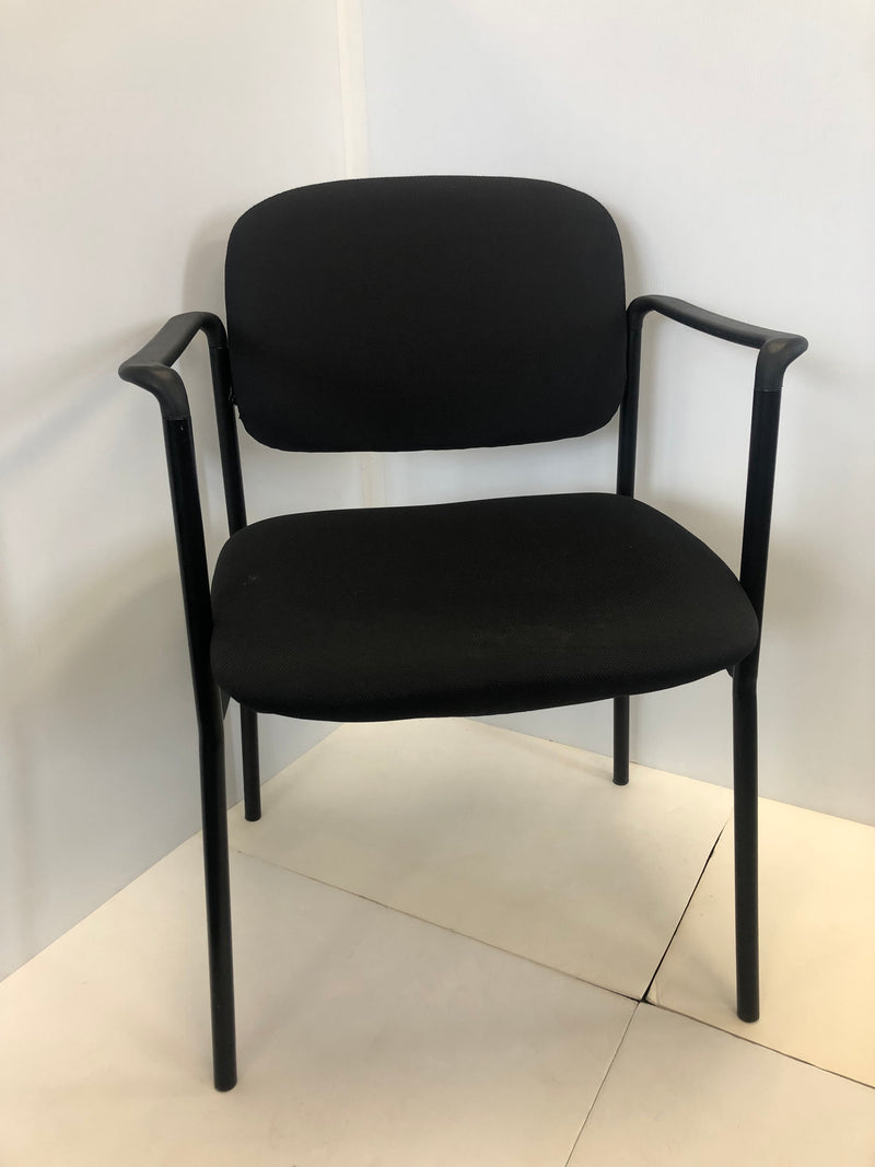 Black Fabric Stackable Steel Side Chair with Arms, NEW