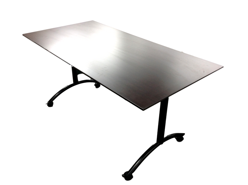 Office Source Beveled Edge Espresso Table On Wheels
