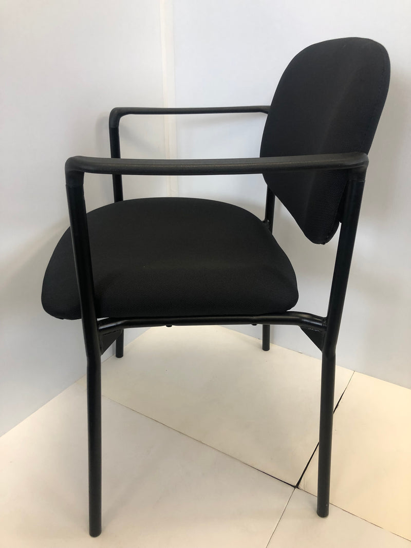 Flash Black Fabric Stackable Steel Side Reception Chair with Arms