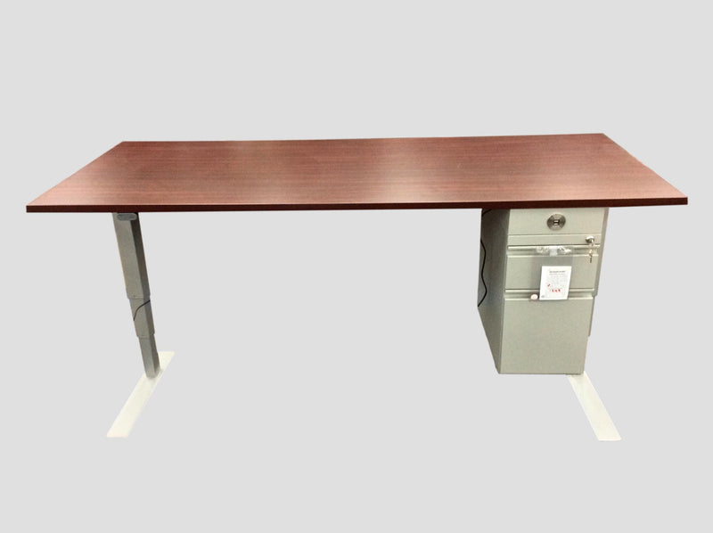 "Electric Sit to Stand Desk- Mahogany Top -Silve Base - (Price Without 3 Drawer File ) - 30""D x 72""W"