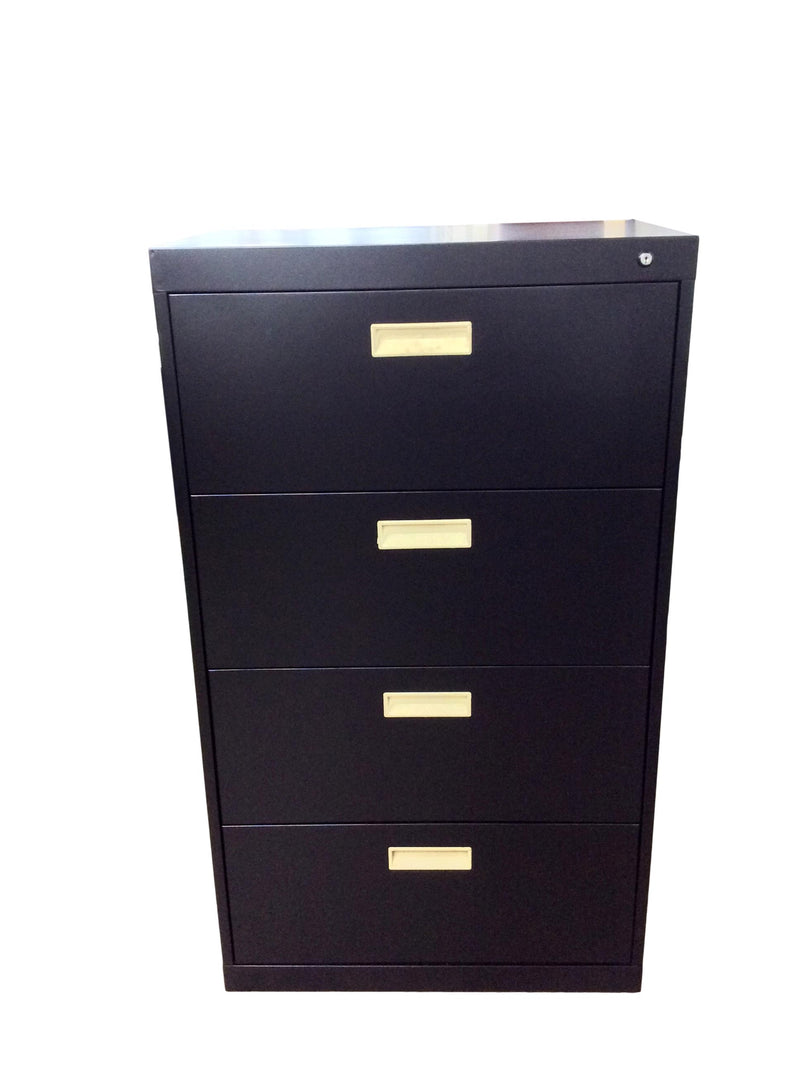 "Black Metal 4 Drawer Lateral File (New Paint) - 30""W x 18""D x 52""H"