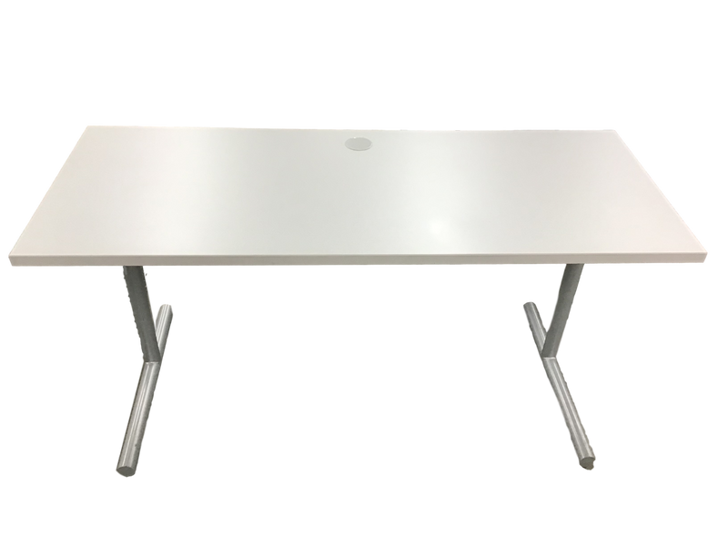 Grey/White Table with Silver Base