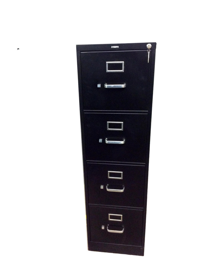 "Hon Metal 4 Drawer Vertical in Black Finish - 15""W x 25""D x 52""H."