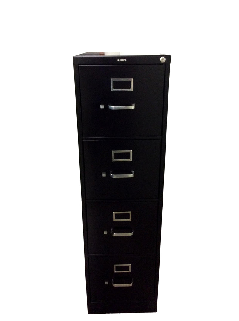 "Hon Metal 4 Drawer Vertical in Black Finish - 15""W x 28 1/2""D x 52""H"
