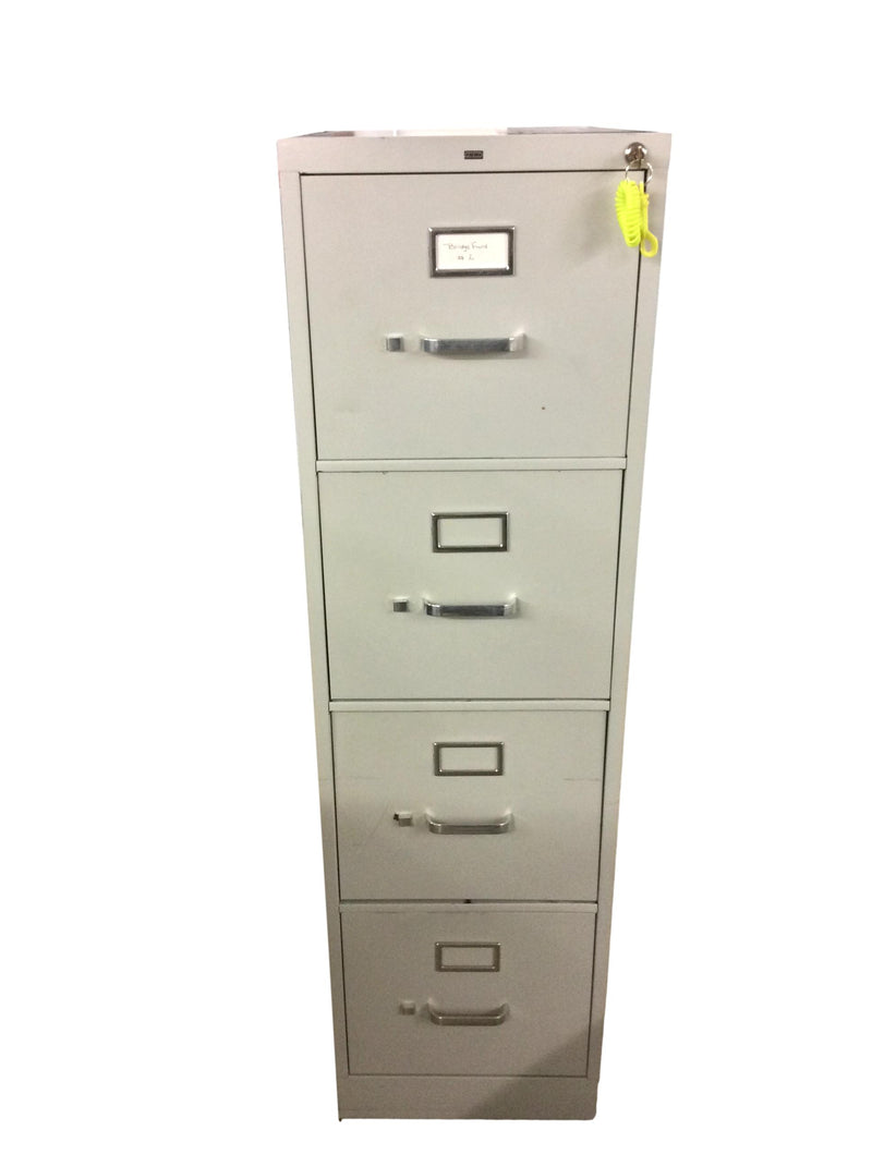 "Hon Metal 4 Drawer Vertical in Gray Finish - 15""W x 26 1/2""D x 52""H"