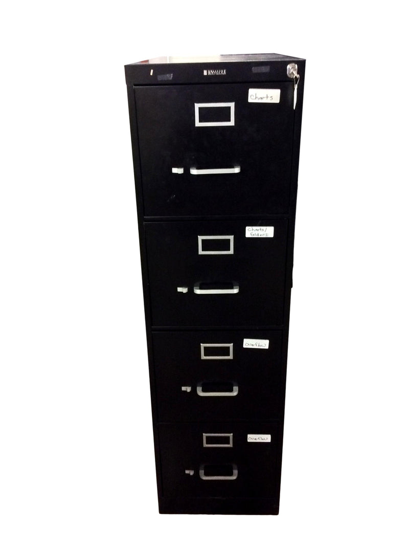 "Anderson Hickey Black Metal 4 Drawer Vertical File - 15""W x 26 1/2""D x 52""H"