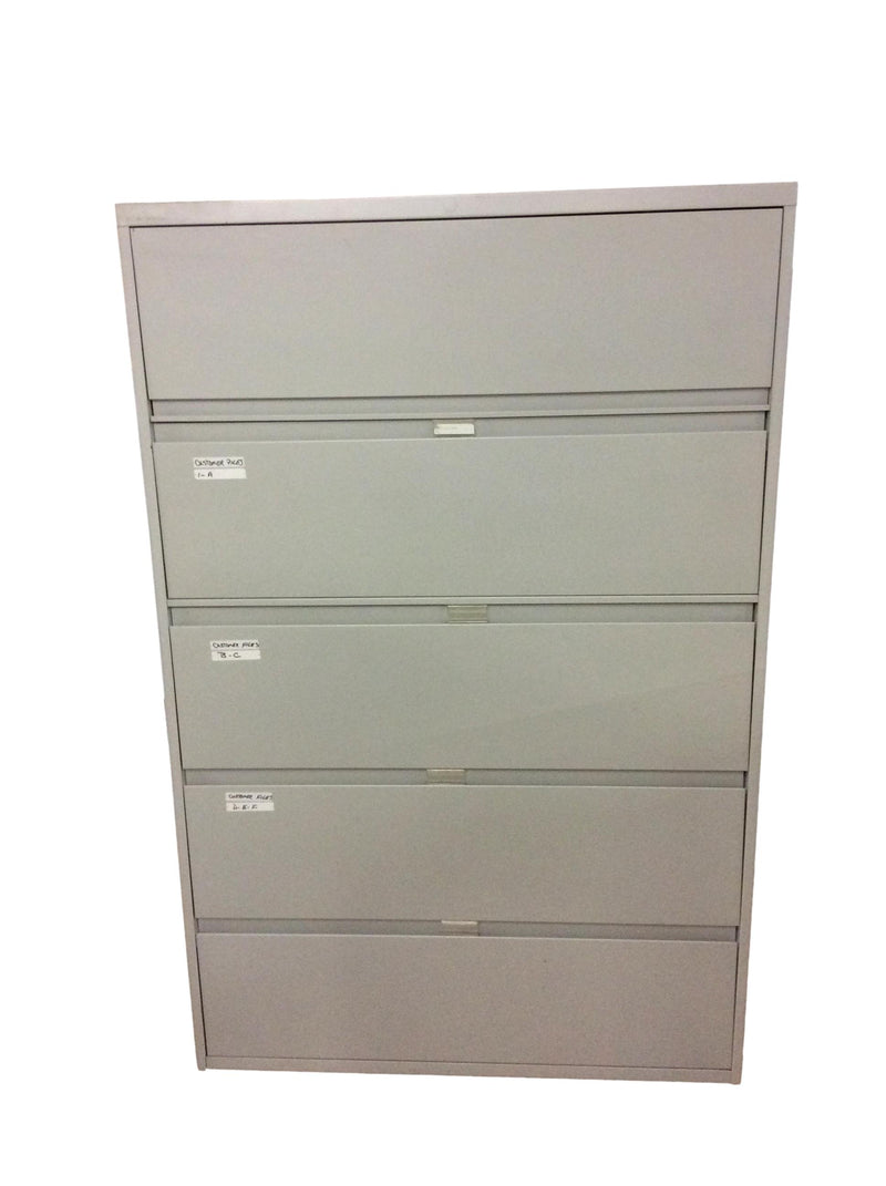 "Steelcase 5 Drawer Lateral File - Gray - 42""W x 18""D x 64 3/4""H"