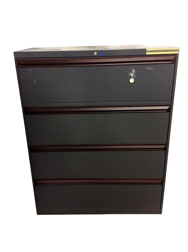 "All Steel 4 Drawer Lateral in Gray Finish - 42""W x 18""D x 53 1/2""H."