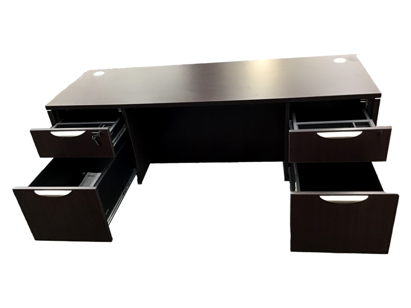 Office Source Espresso Straight Desk With Two Files