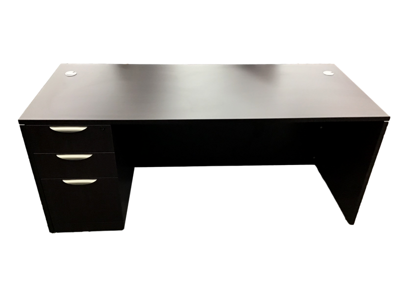 Office Source Laminate Espresso Straight Desk
