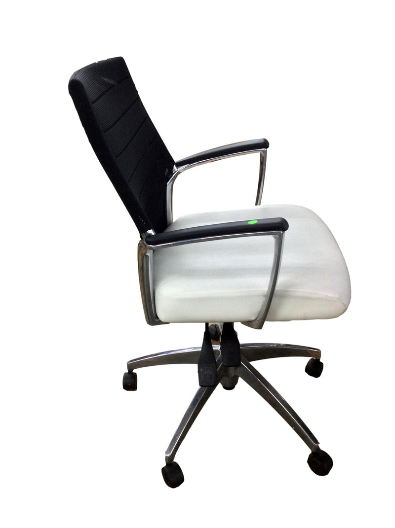 Black Mesh Back White Leather Seat Office Task Chair