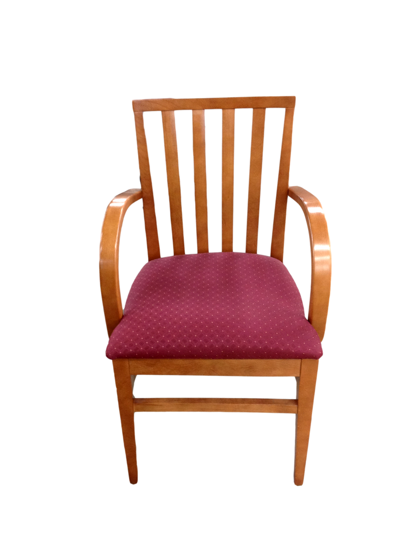 Red Fabric Chair with Cherry Frame