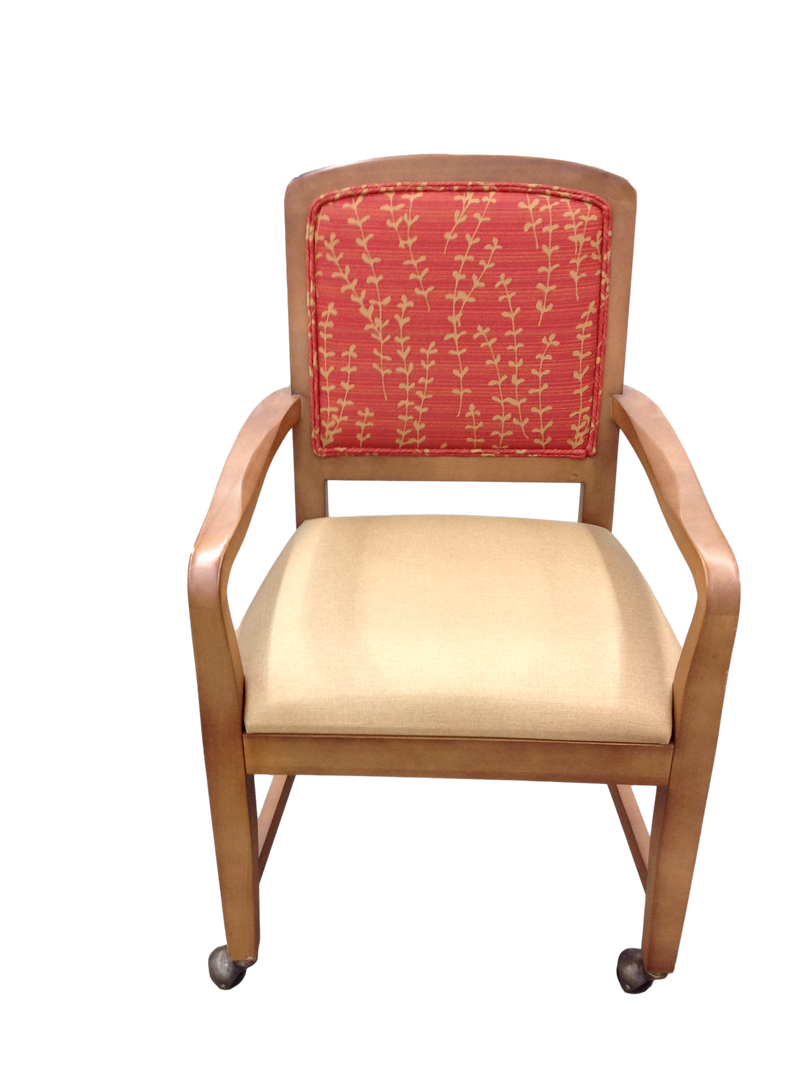 Beige Fabric Seat and Red Pattern Back Guest Chair