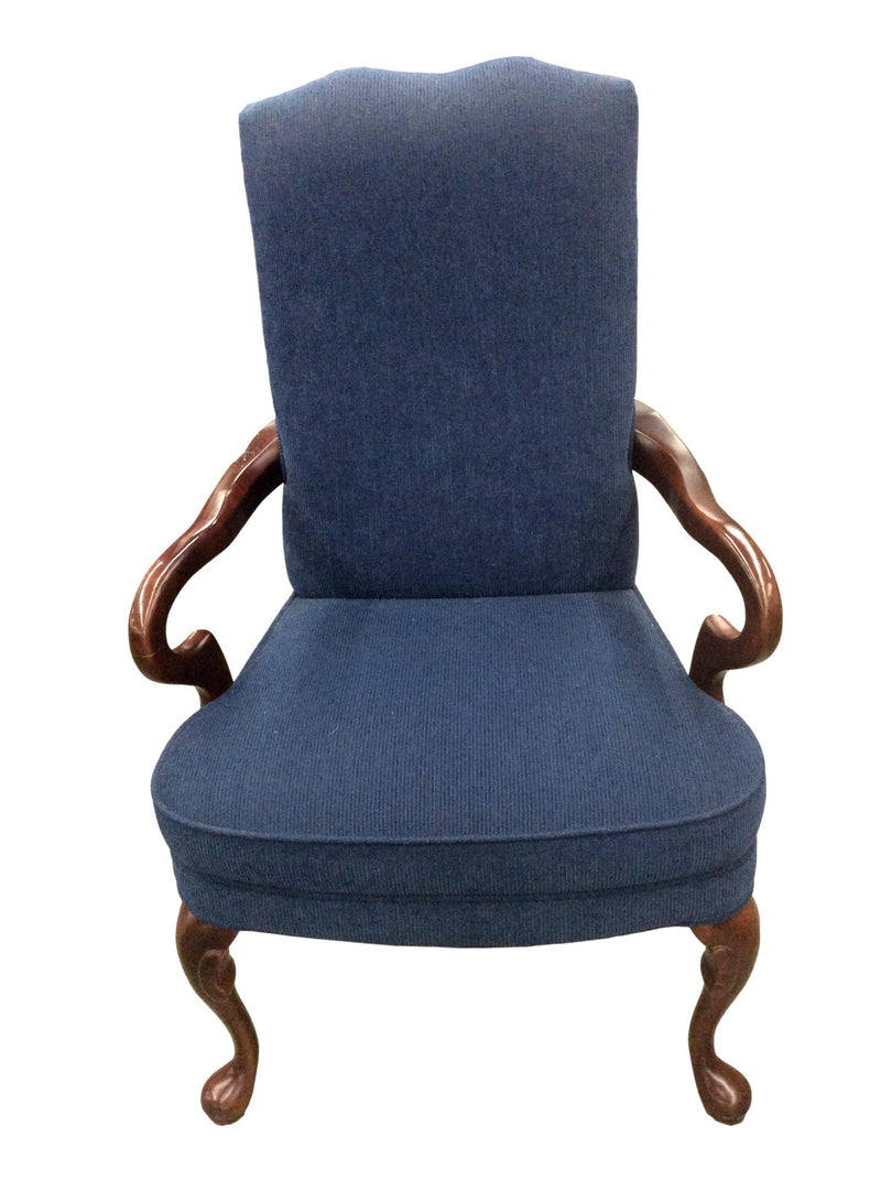 Traditional Executive Blue Fabric Guest Chair with Mahogany Frame