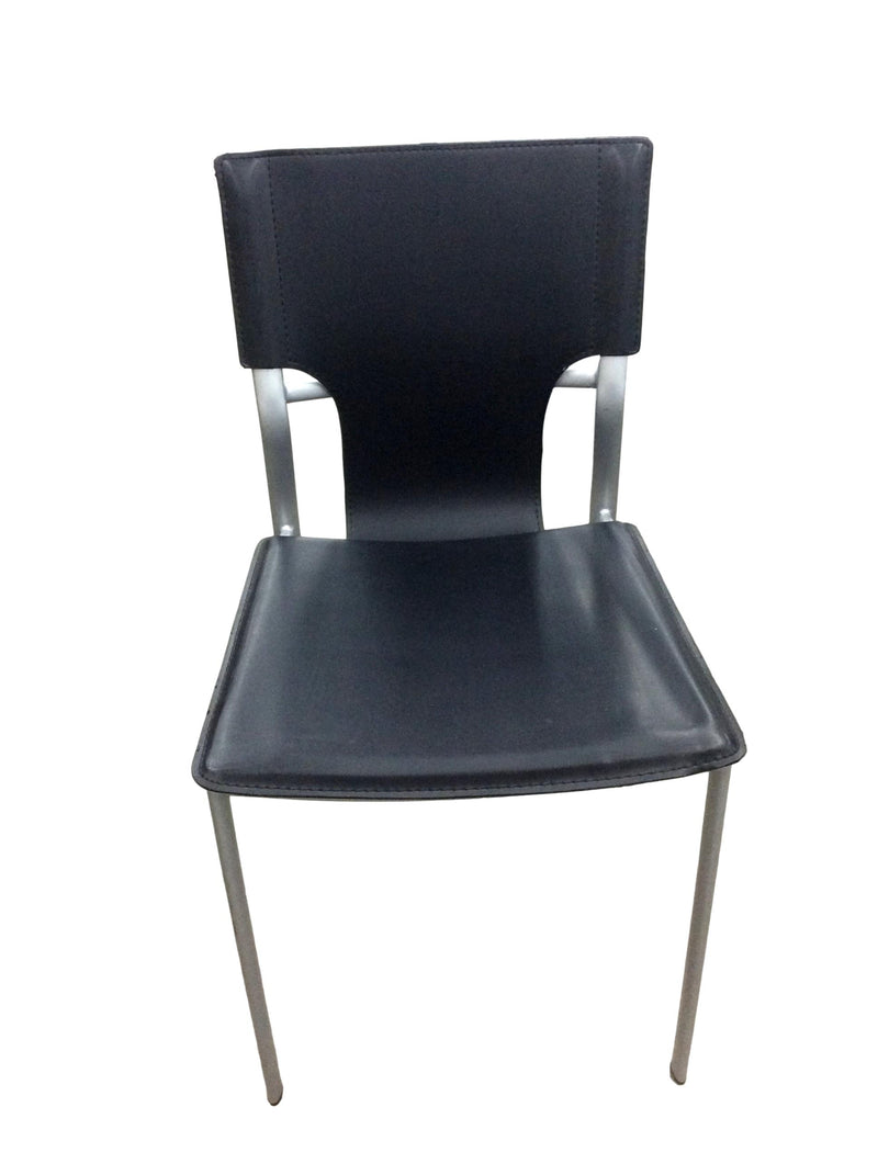 Black Leather Armless Guest Chair with Silver Frame