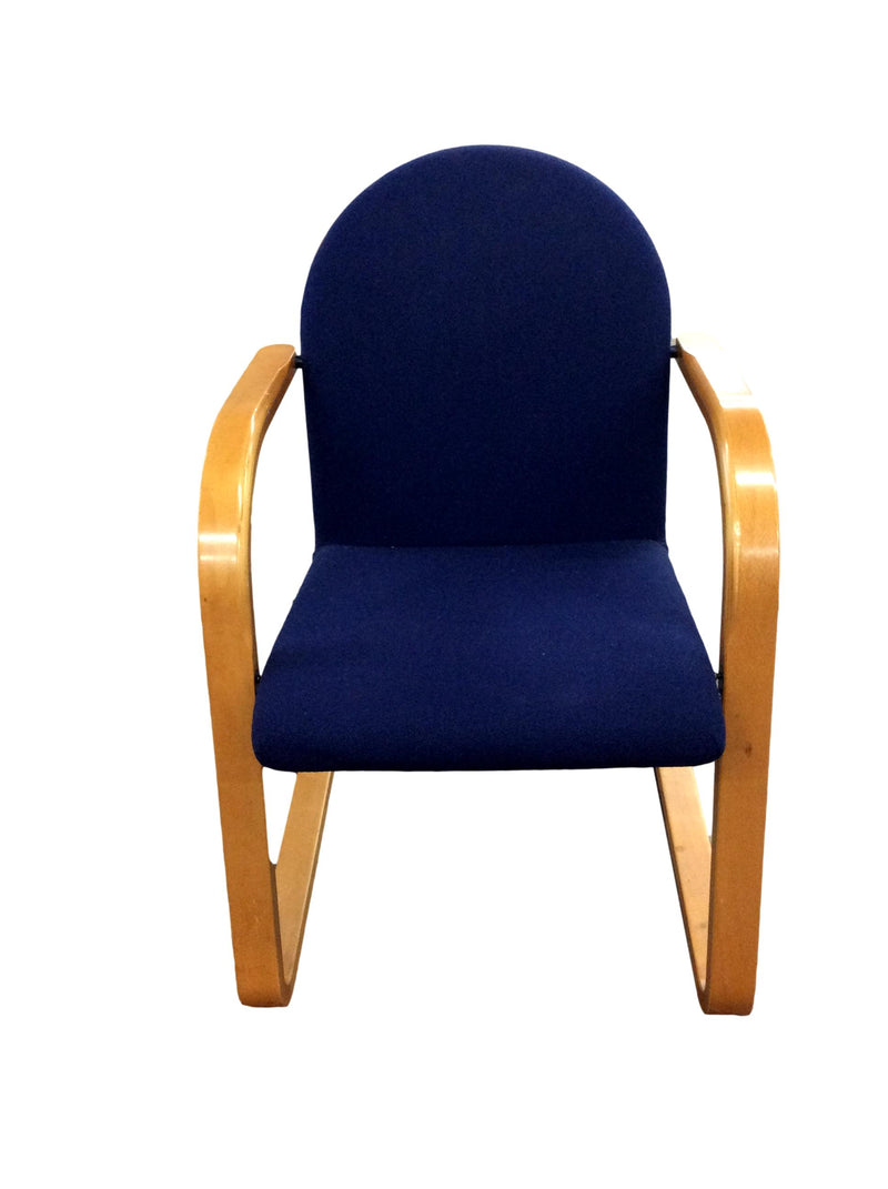 Blue Fabric With Oak Frame Guest Chair on Sled Base