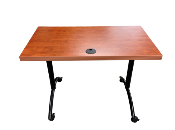 Table in Cherry Laminate on Black Metal Base With Wheels