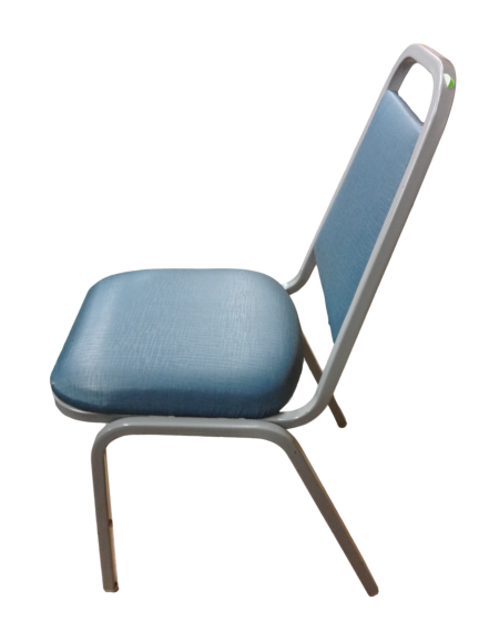 Blue Leather Guest Chair With Gray Metal Frame
