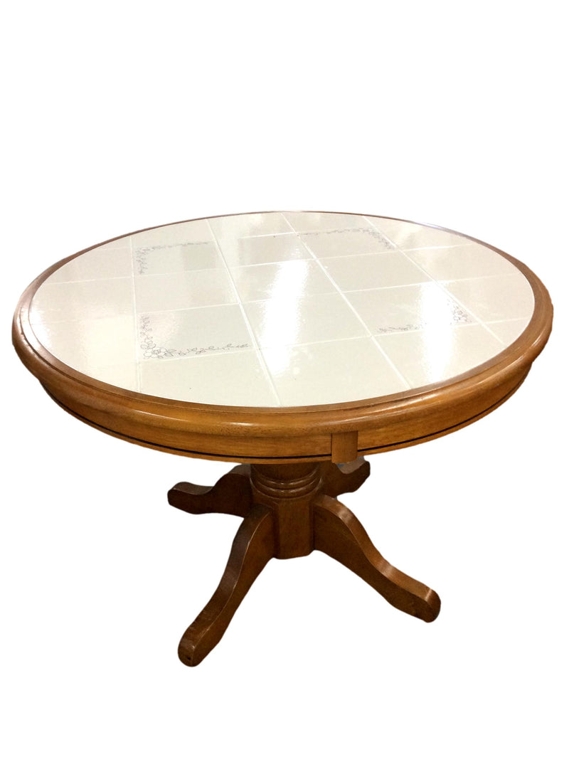 "Walnut Base White Tile Surface Round Table - 42""R"